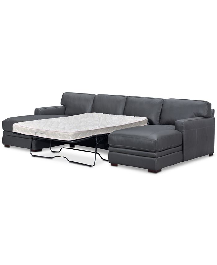 Furniture Avenell 3 Pc Leather, Double Leather Sofa Bed