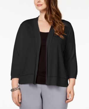 Image of Anne Klein Plus Size 3/4-Sleeve Cardigan