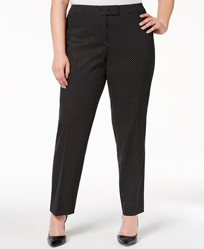 Anne Klein Plus Size Dot-Print Bowie Pants