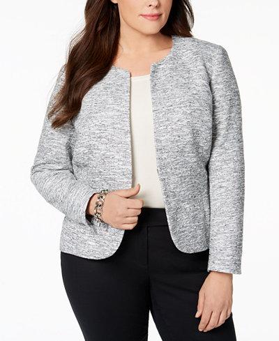 Anne Klein Plus Size Collarless Tweed Blazer
