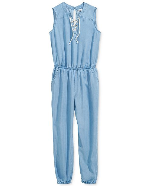 Epic Threads Big Girls Lace-Up Jumpsuit, Created for Macy's
