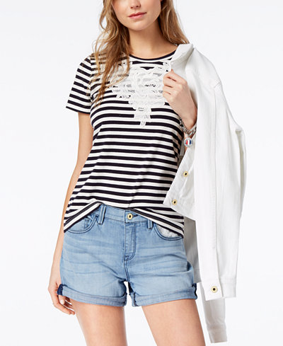 Tommy Hilfiger Lace-Appliqué T-Shirt, Created for Macy's