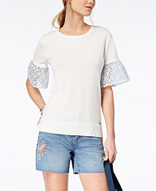 Tommy Hilfiger Cotton Eyelet-Sleeve Top