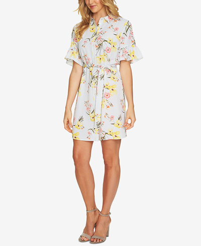 CeCe Floral-Print Shirtdress