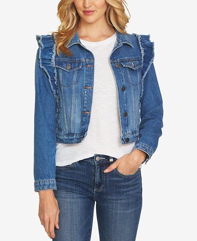 CeCe Cotton Ruffled Denim Jacket