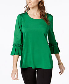 Alfani Pleated Bell-Sleeve Tunic, Created for Macy's