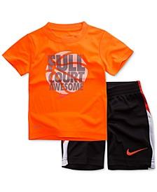 2-Pc. Basketball Graphic-Print T-Shirt & Shorts Set, Toddler Boys