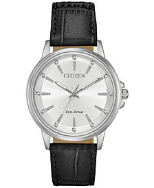 Citizen Eco-Drive Women's Chandler Black Leather Strap Watch 37mm