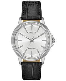 Citizen Eco-Drive Women's Chandler Black Leather Strap Watch 37mm