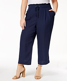John Paul Richard Plus Size Cropped Drawstring-Waist Pants