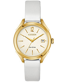Citizen Drive From Citizen Eco-Drive Women's White Leather Strap Watch 34mm