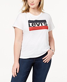 Trendy Plus Size  Cotton Logo T-Shirt