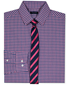 Tommy Hilfiger Stretch Gingham Shirt & Tie Set, Big Boys