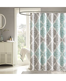 "Claire 72"" x 72"" Floral Diamond-Print Shower Curtain"