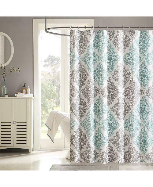 """Madison Park Claire 72"""" x 72"""" Floral Diamond-Print Shower Curtain"""