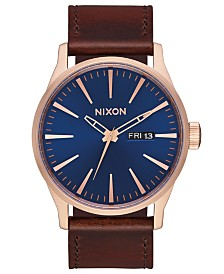 Nixon Men's Sentry Leather/Canvas Strap Watch 42mm