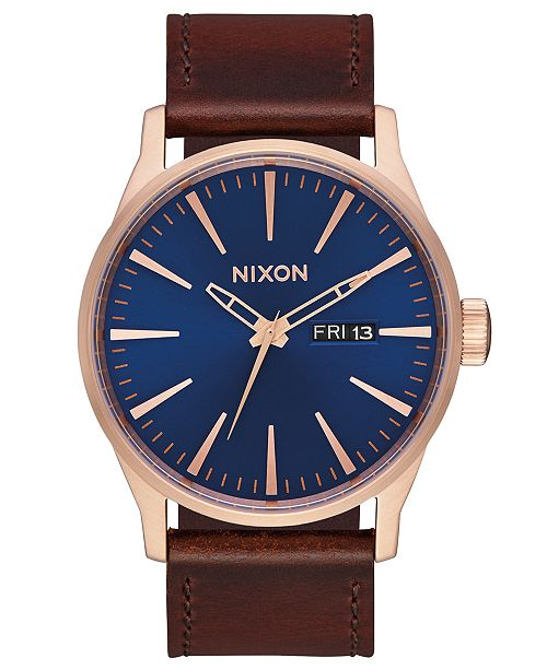 Nixon Men s Sentry Leather Canvas Strap Watch 42mm - Watches ... 95de1aebe