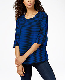 Charter Club Striped Bell-Sleeve Top, Created for Macy's