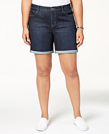 Style & Co Plus Size Cuffed Denim Shorts, Created for Macy's