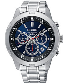 Seiko Men's Chronograph Special Value Stainless Steel Bracelet Watch 43.5mm