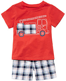 First Impressions Fire Truck Graphic-Print T-Shirt & Plaid Shorts Separates, Baby Boys, Created for Macy's