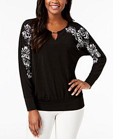 JM Collection Embroidered Studded Top, Created for Macy's