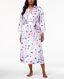 Thalia Sodi Floral-Print Lace-Cuff Robe, Created for Macy's