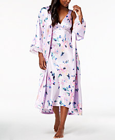 Thalia Sodi Floral-Print Lace-Trim Nightgown & Robe Sleep Separates, Created for Macy's