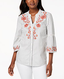 Style & Co Petite Embroidered Bell-Sleeve Blouse, Created for Macy's