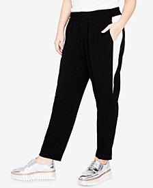RACHEL Rachel Roy Trendy Plus Size Contrast-Inset Jogger Pants
