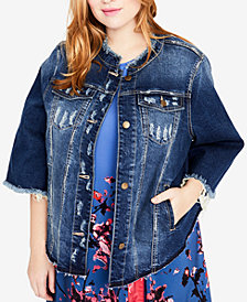 RACHEL Rachel Roy Trendy Plus Size Bell-Sleeve Ripped Denim Jacket