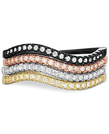 4-Piece Cubic Zirconia Stackable Ring Set in Multicolor-Plated Sterling Silver