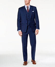 Lauren Ralph Lauren Men's Big & Tall Classic-Fit Ultraflex Navy Plaid Vested Suit