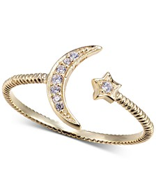 Cubic Zirconia Moon & Star Ring in Gold-Tone Sterling Silver