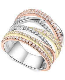 Cubic Zirconia Tri-Color Statement Ring in 14k Tri-Gold Plated Sterling Silver