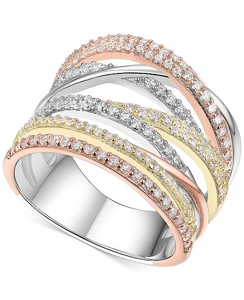 2757ee209 ... Macy's Cubic Zirconia Tri-Color Statement Ring in 14k Tri-Gold Plated  Sterling Silver ...