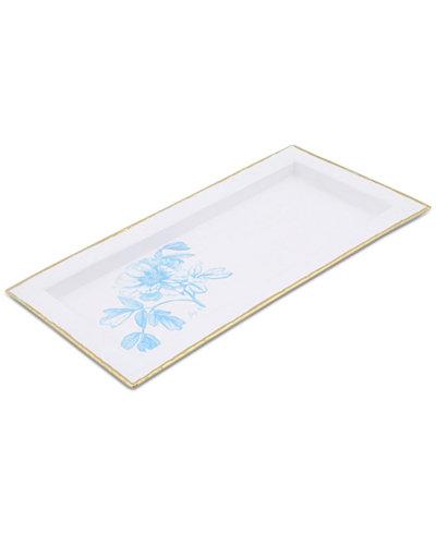 Thirstystone White Enamel Tray with Peony Design