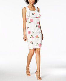 Nine West Floral-Print Ruffle Dress