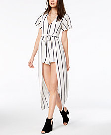 Crystal Doll Juniors' Striped Overlay Romper
