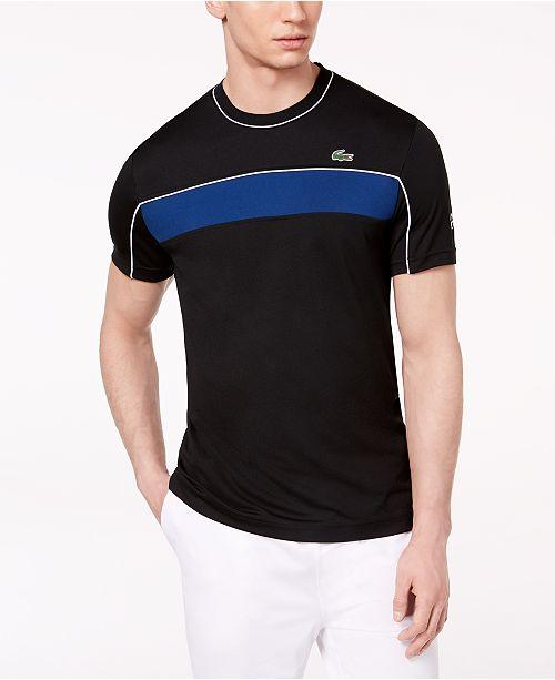 Lacoste Men S Novak Djokovic Ultra Dry Colorblocked Pique Tennis T Shirt Reviews T Shirts Men Macy S