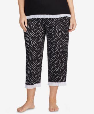 Plus Size Ruffle-Hem Capri Pajama Pants