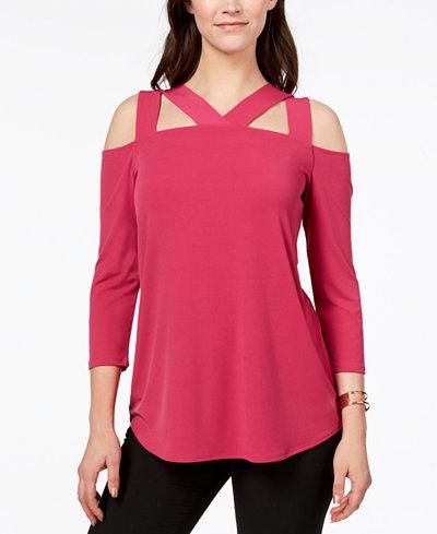 Alfani 3/4-Sleeve Cutout Top, Created for Macy's