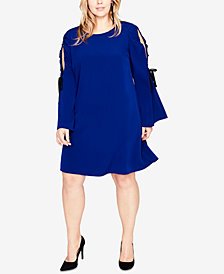 RACHEL Rachel Roy Trendy Plus Size Cold-Shoulder Dress