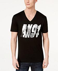 A|X Armani Exchange Men's Metallic Logo-Print V-Neck T-Shirt