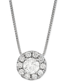 "Diamond Halo 18"" Pendant Necklace (1/3 ct. t.w.) in 14k White Gold"