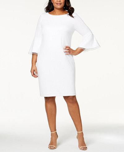 Calvin Klein Plus Size Bell-Sleeve Sheath Dress
