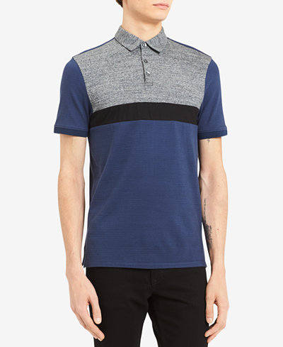 Calvin Klein Men's Colorblocked Textured Stripe Polo