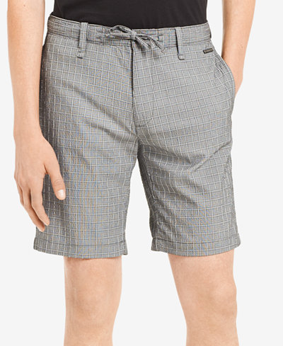 Calvin Klein Men's Classic-Fit Stretch Windowpane Seersucker Shorts