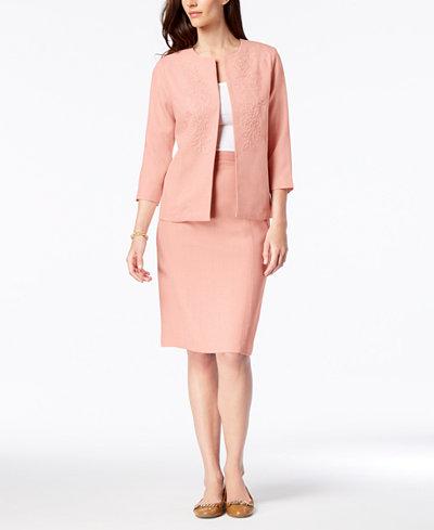 Alfred Dunner Collarless Soutache-Trim Jacket & Straight Skirt