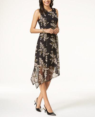 Alfani Petite Embroidered Handkerchief-Hem Dress, Created for Macy's